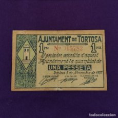 Billetes locales: BILLETE LOCAL ORIGINAL DE EPOCA. TORTOSA (TARRAGONA). 1 PESETA. 1937. GUERRA CIVIL.. Lote 220580608