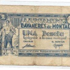 Billetes locales: BILLETE UNA PESETA LLAVANERES DE MONTAL. Lote 277657233