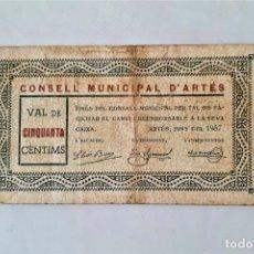 Billetes locales: F 1770 BILLETE CONSEJO MUNICIPAL D' ARTES 50 CÉNTIMOS JUNIO T-276. Lote 184216306
