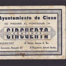 Billetes locales: AYUNTAMIENTO DE CIEZA (MURCIA) - 50 CÉNTIMOS 1937 - VER FOTOS. Lote 221134541