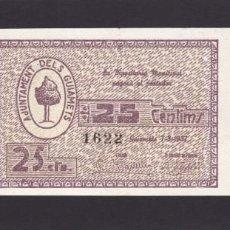 Billetes locales: ELS GUIAMETS (TARRAGONA) - 25 CENTIMOS 1937 - SIN CIRCULAR - (VER FOTOS). Lote 221136530