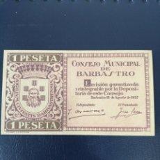 Billetes locales: R-6 COPIA BILLETE LOCAL 1 PESETA BARBASTRO 1937.. Lote 221257645