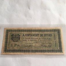 Billetes locales: AYUNTAMENT DE SITGES 1 PESETA GUERRA CIVIL AÑO 1937.. Lote 221277056