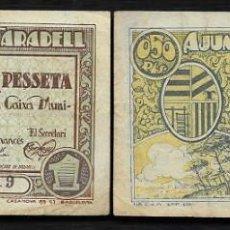 Billetes locales: TARADELL (BARCELONA) 5 CTS Y 1 PTA AJUNTAMENT DE TARADELL.. Lote 221591860