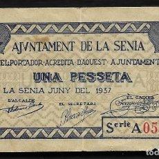 Billetes locales: LA SENIA (TARRAGONA). AÑO 1937. 1 PTA AZUL.. Lote 221596135