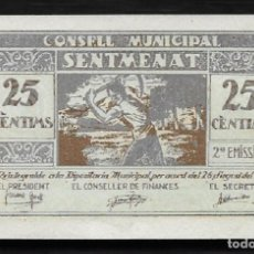 Billetes locales: SENTMENAT (BARCELONA9. AÑO 1937. 25 CTS CONSELL MUNICIPAL.. Lote 221597335
