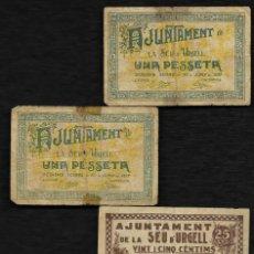 Billetes locales: SEU DE URGEL LA (LERIDA). AÑO 1937. CONJUNTO DE 4 BILLETES.. Lote 221600270