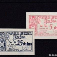 Billetes locales: BILLETES DE 5 Y 25 CTMS.. PREMIA 1937 - SIN CIRCULAR. Lote 221820653
