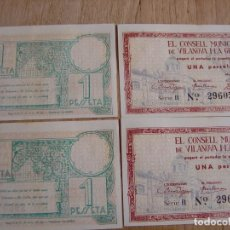 Billetes locales: PAREJA CORRELATIVA BILLETES LOCALES 1937 : 1 PESSETA CONSELL MUNICIPAL DE VILANOVA I LA GELTRÚ S/C. Lote 221887778