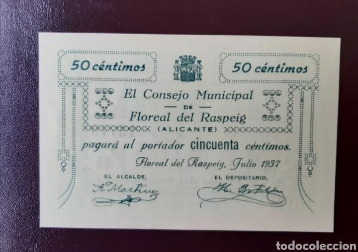 FLOREAL DEL RASPEIG BILLETE LOCAL DE 50 CENT SERIE B DE LUJO (Numismática - Notafilia - Billetes Locales)