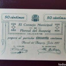 Billetes locales: FLOREAL DEL RASPEIG BILLETE LOCAL DE 50 CENT SERIE B DE LUJO. Lote 221932513