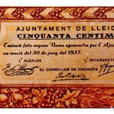 Billetes locales: BILLETE LOCAL DEL AYUNTAMIENTO DE LLEIDA DE 50 CENTIMOS DE 1937 CIRCULADO. Lote 221986543