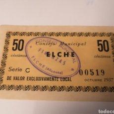 Billets locaux: ELCHE. ALICANTE. 1937. 50 CENTIMOS.. Lote 221989551
