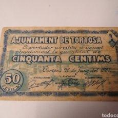 Billetes locales: TORTOSA. TARRAGONA. 50 CENTIMS. GUERRA CIVIL. Lote 221989730