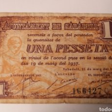 Billetes locales: SABADELL. BARCELONA. 1 PESSETA. Lote 222178158