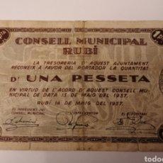 Billetes locales: RUBÍ. BARCELONA. 1 PESSETA. Lote 222178371