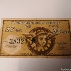 Billetes locales: VIC. BARCELONA. 25 CENTIMS.. Lote 222189160
