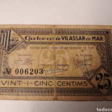 Billetes locales: VILASSAR DE MAR. BARCELONA. 25 CENTIMS. Lote 222189191