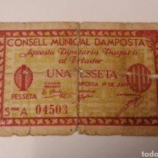 Billetes locales: AMPOSTA. TARRAGONA. 1 PESSETA.. Lote 222302656