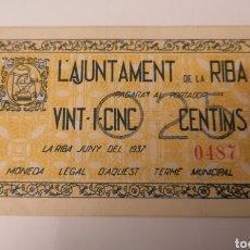 Billetes locales: LA RIBA. TARRAGONA. 25 CENTIMS.. Lote 222302767