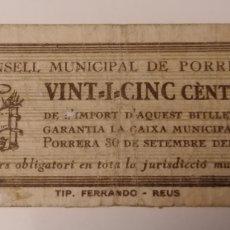 Billetes locales: PORRERA. TARRAGONA. 25 CENTIMS.. Lote 222302805