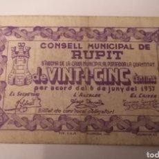 Billetes locales: RUPIT. BARCELONA. 25 CENTIMS. ESCASO. Lote 222302847