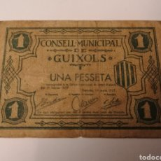 Billetes locales: GUIXOLS. GIRONA. 1 PESETA. Lote 222314630