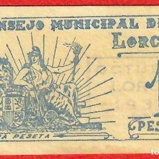 Billetes locales: ESPAÑA - SPAIN - 1937 - GUERRA CIVIL - CONSEJO MUNICIPAL DE LORCA MURCIA - 1 PESETA - SIN CIRCULAR. Lote 222367217