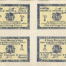 Billetes locales: ESPAÑA - SPAIN - 1937 - GUERRA CIVIL - CONSEJO MUNICIPAL DE TOTANA MURCIA - 2 PESETAS - LOTE. Lote 222367513
