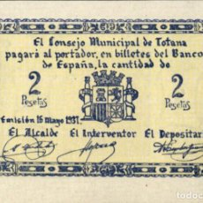 Billetes locales: ESPAÑA - SPAIN - 1937 - GUERRA CIVIL - CONSEJO MUNICIPAL DE TOTANA MURCIA - 2 PESETAS - SIN CIRCULAR. Lote 222367633