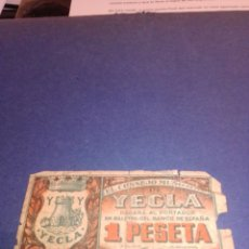 Billetes locales: BILLETE YECLA 1937 GUERRA CIVIL. Lote 222534462