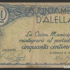 Billetes locales: J.B. BILLETE D'ALELLA , 50 CENTIMOS , ED.102B , T.93. Lote 222558710