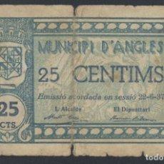 Billetes locales: J.B. BILLETE DE ANGLÈS , 25 CENTIMOS , 2ª EMISIÓN JUNIO 1937 , ED.169B , T.160A. Lote 222559307