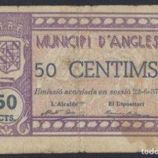Billetes locales: J.B. BILLETE DE ANGLÈS , 50 CENTIMOS , 2ª EMISIÓN JUNIO 1937 , ED.169C , T.159. Lote 222559727
