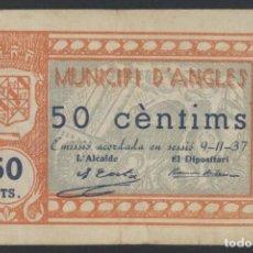 Billetes locales: J.B. BILLETE DE ANGLÈS , 50 CENTIMOS , 3ª EMISIÓN NOVIEMBRE 1937 , ED.169F , T.162. Lote 222559850