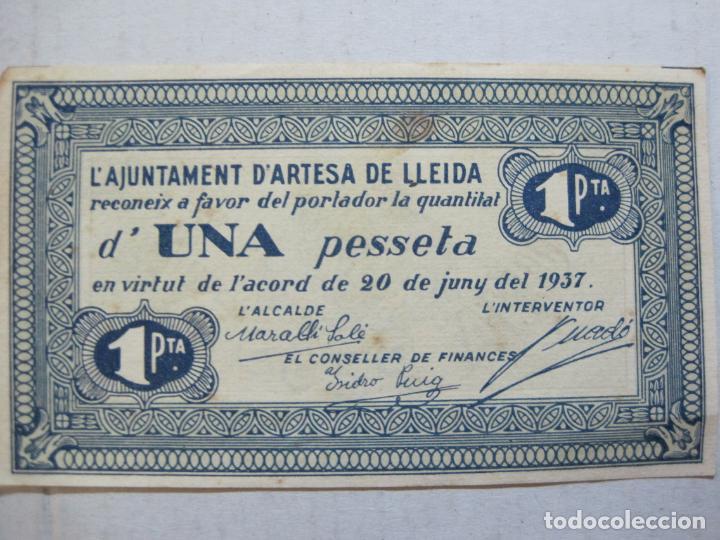 Billetes locales: GUERRA CIVIL-ARTESA DE LLEIDA-UNA PESSETA-1 PTA-ANY 1937-BILLETE LOCAL-VER FOTOS-(75.235) - Foto 2 - 222579936