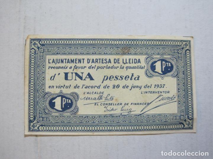 GUERRA CIVIL-ARTESA DE LLEIDA-UNA PESSETA-1 PTA-ANY 1937-BILLETE LOCAL-VER FOTOS-(75.235) (Numismática - Notafilia - Billetes Locales)