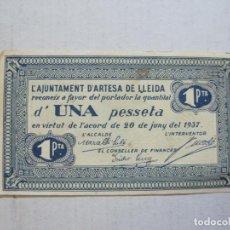 Billetes locales: GUERRA CIVIL-ARTESA DE LLEIDA-UNA PESSETA-1 PTA-ANY 1937-BILLETE LOCAL-VER FOTOS-(75.235). Lote 222579936