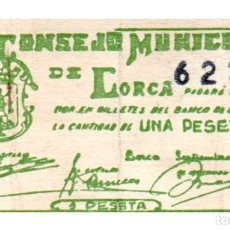 Billetes locales: BILLETE LOCAL DEL CONSEJO MUNICIPAL DE LORCA DE UNA PESETA CIRCULADO. Lote 222622895