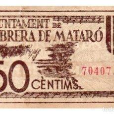 Billetes locales: BILLETE LOCAL DEL AYUNTAMIENTO DE CABRERA DE MATARO CIRCULADO. Lote 222623082