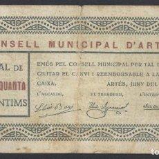 Billetes locales: J.B. BILLETE ARTÉS , 50 CENTIMOS , 1ª EMISIÓN JUNIO 1937 , ED.196A , T.218. Lote 222688350