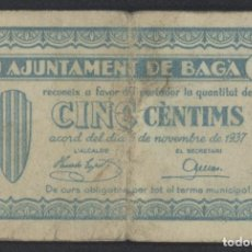Billetes locales: J.B. BILLETE DE BAGA , 5 CENTIMOS , 2ª EMISIÓN NOVIEMBRE 1937 , ED.218C , T.263. Lote 222688781