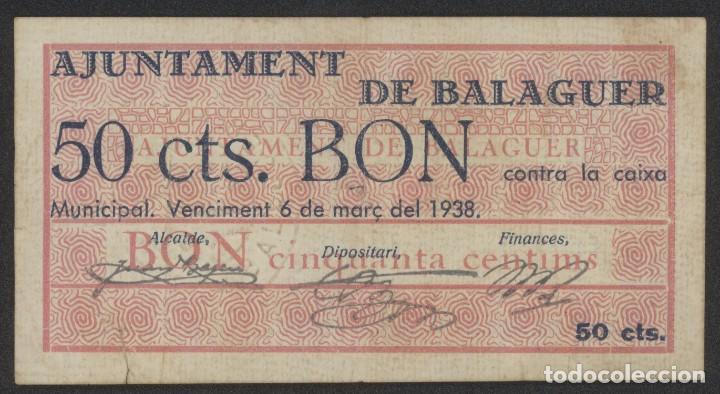 J.B. BILLETE DE BALAGUER , 50 CENTIMOS , 1ª EMISIÓN MARZO 1937 , ED.222A , T.274 (Numismática - Notafilia - Billetes Locales)