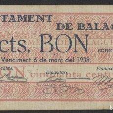 Billetes locales: J.B. BILLETE DE BALAGUER , 50 CENTIMOS , 1ª EMISIÓN MARZO 1937 , ED.222A , T.274. Lote 222689582