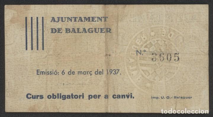 Billetes locales: J.B. BILLETE DE BALAGUER , 50 CENTIMOS , 1ª Emisión Marzo 1937 , Ed.222A , T.274 - Foto 2 - 222689582