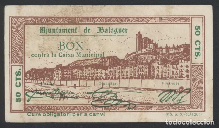 J.B. BILLETE DE BALAGUER , 50 CENTIMOS , ED.222D , T.276 (Numismática - Notafilia - Billetes Locales)