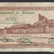 Billetes locales: J.B. BILLETE DE BALAGUER , 50 CENTIMOS , ED.222D , T.276. Lote 222692398
