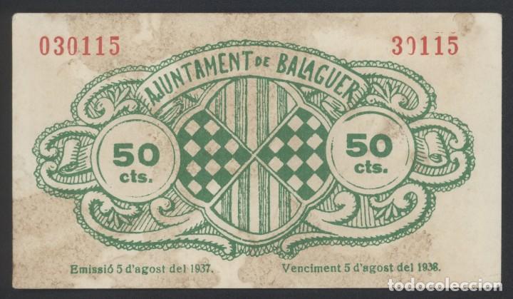 Billetes locales: J.B. BILLETE DE BALAGUER , 50 CENTIMOS , Ed.222D , T.276 - Foto 2 - 222692398
