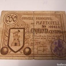 Billetes locales: MARTORELL. BARCELONA. 50 CENTIMS.. Lote 222844716