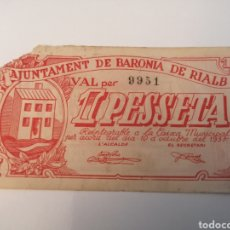 Billetes locales: BARONIA DE RIALB. 1 PESSETA. Lote 222846953